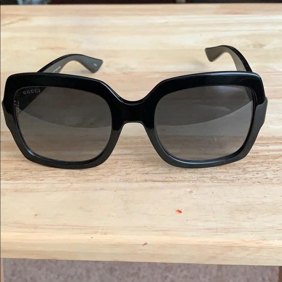 GUCCI women's designer sunglasses BLACK/BLUE NWOT